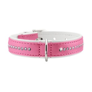 Hunter Halsband Modern Art Luxus 24/11 nickel Kunstleder, pink/ weiß, 17,0-20,5 cm  1