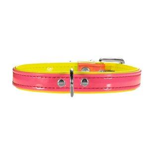 Hunter Halsband Modern Art Neon 37/13  Kunstleder, pink/gelb, 28,0-33,5 cm  1