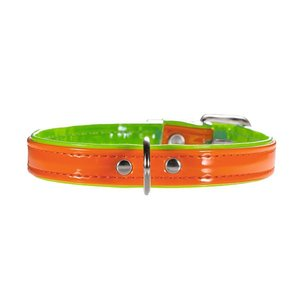Hunter Halsband Modern Art Neon 27/11  Kunstleder, orange/grün, 20,0-23,5 cm  1