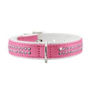 Hunter Halsband Modern Art Deluxe 40 nickel Kunstleder, pink/ weiß, 29-35 cm  1